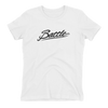 Battle Balm® (Women's) Battle Black Cursive Tee-Shirt [White]