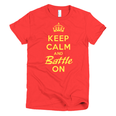 BATTLE BALM® Keep Calm and Battle On TEE-SHIRT (WOMEN'S) - Red