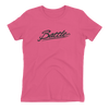 Battle Balm® (Women's) Battle Black Cursive Tee-Shirt [Hot Pink]