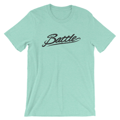 Battle Balm® (Men's) Battle Black Cursive Tee-Shirt [Heather Mint]