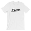 Battle Balm® (Men's) Battle Black Cursive Tee-Shirt [White]