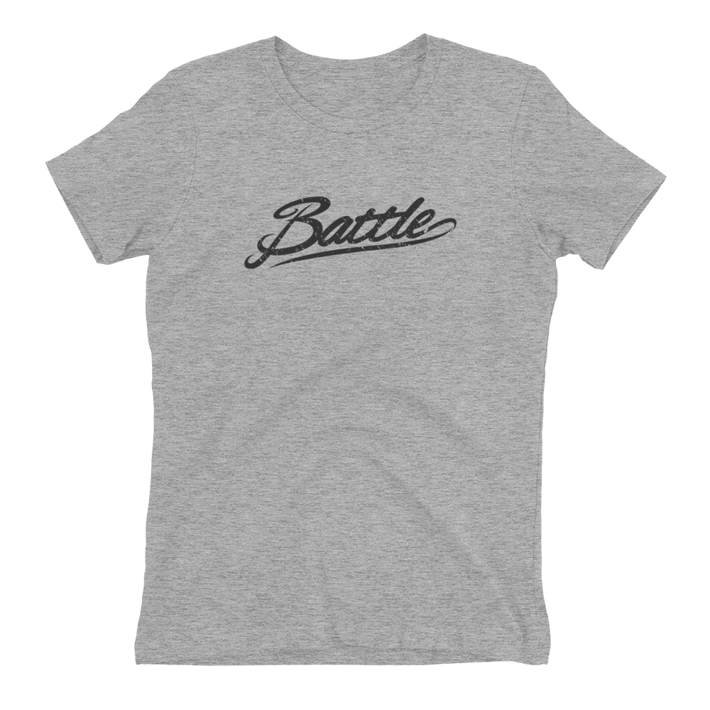 Battle Balm® (Women's) Battle Black Cursive Tee-Shirt [Heather Grey]