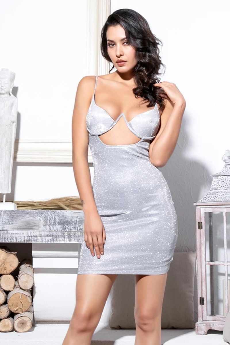 'Risqué all Day' Cut Out Glitter Mini Dress