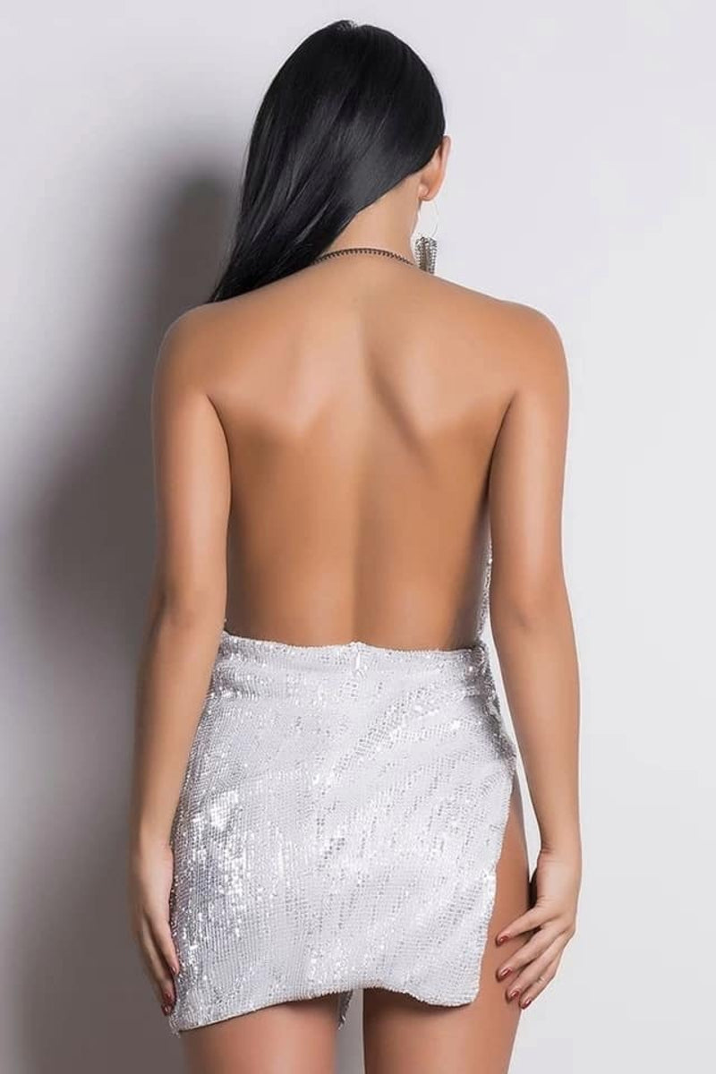 Icy Sequin Backless Mini Dress White