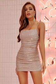 Sparkly Glitter Diamante Ruched Dress