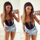 Sexy Front Lace Up Floral Lace Strappy Bodysuit Black