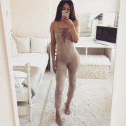 Suede Lace Up Low Cleavage Bodycon Jumpsuit Mocha