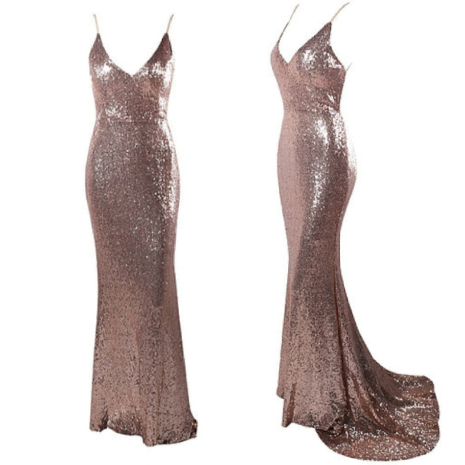 Sequin Backless Bodycon Gown Maxi Dress Rose Gold