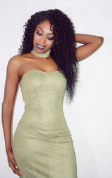 Suede Choker Bandeau Bodycon Dress Olive Green