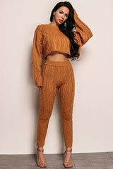 Knit Patterned Two Piece Set Orange