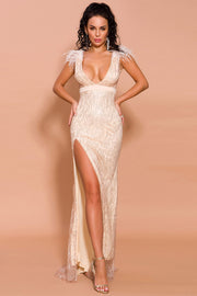 Glitter Feather Side Slit Maxi Dress Pink