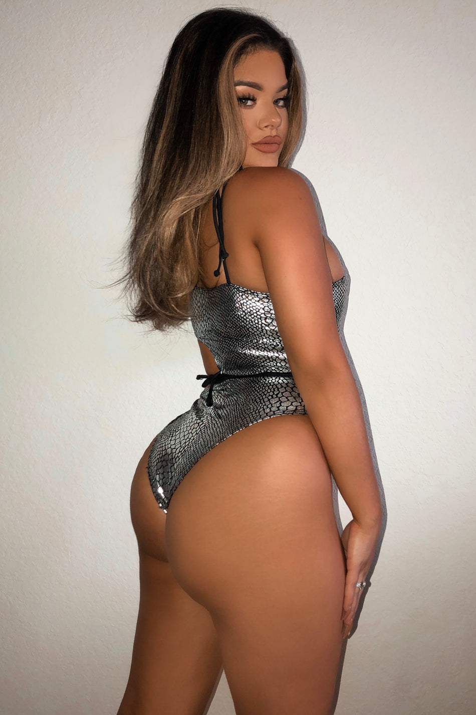 Metallic Cut Out Swimsuit Silver