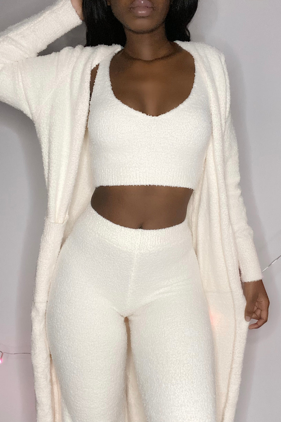 'Warm Crush' Soft Fluffy Two Piece Lounge Set Ivory