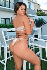Metallic Halter Bikini Peach Gold