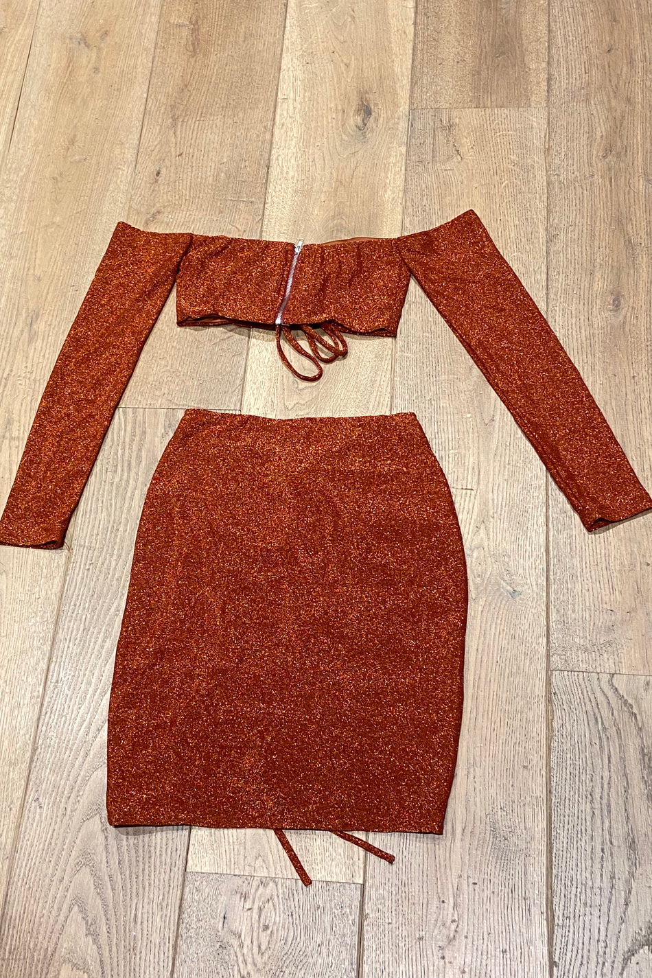 Sparkly Off The Shoulder Two Piece Bronze
