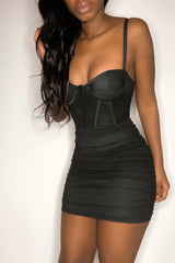 'Sweet Like Sugar' Strappy Corset Mini Dress Black