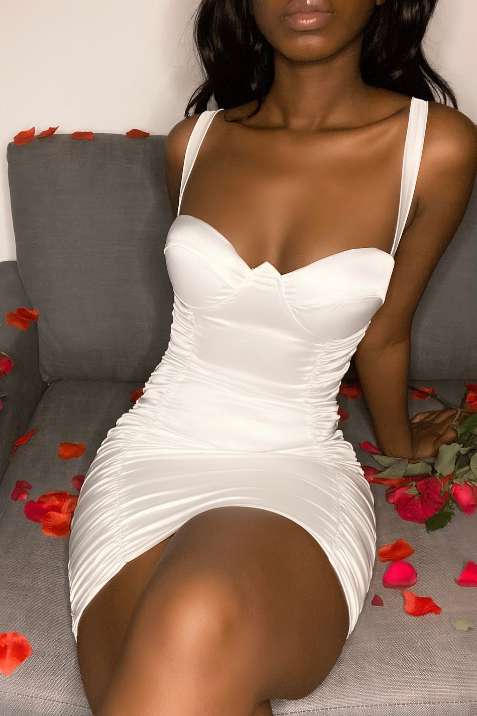 'In Your Dreams' Satin Ruched Mini Dress White