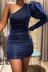 Sparkly Puff Sleeve Ruched Dress Blue