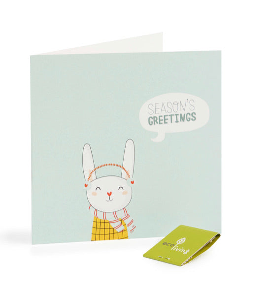 Recycled Christmas Card - Rabbit