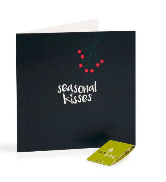 Recycled Christmas Card - Seasonal Kisses