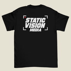 Black T Shirt with 2 Color Screen Printing, Static Vision