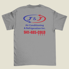 Grey T-Shirt with 2 Color Screen Printing, Red & Blue, J&J Air Conditioning