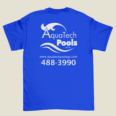 Blue T-Shirt with White Screen Printing on Back, AquaTech Pools