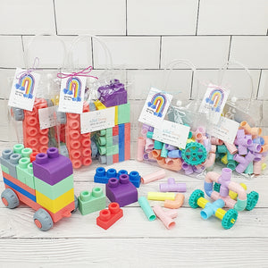 [Bundle of 10] Silicone Mega Building Blocks & Pastel Connecting Pipes Party Packs