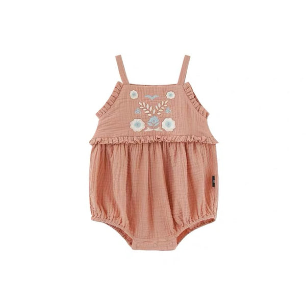 Raelin Floral Embroidered Spag Romper