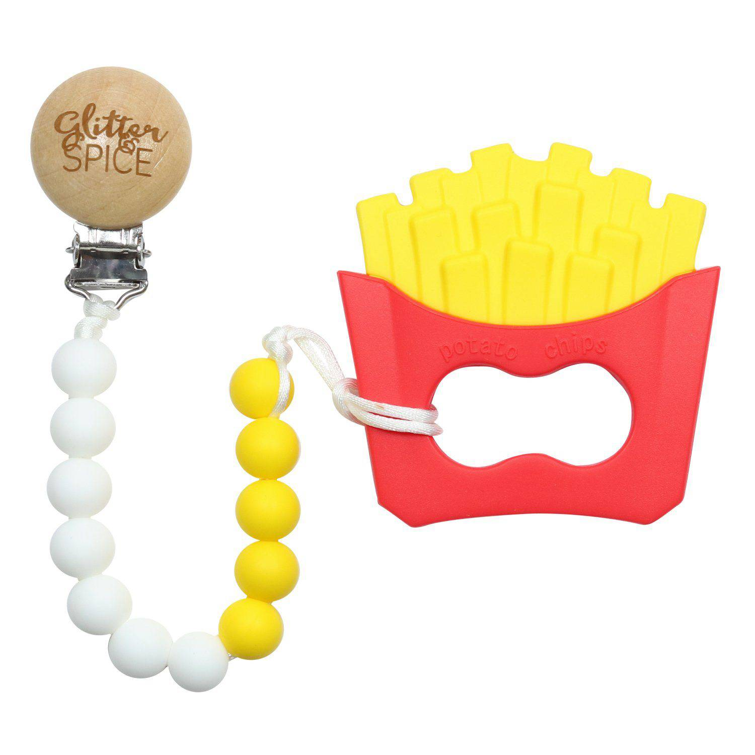 French Fry Teether with Pacifier Clip