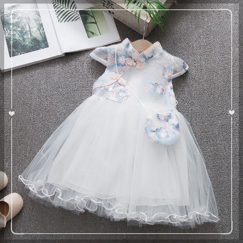 [PO] Dainty Floral Oriental Tulle Dress