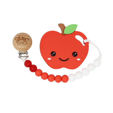 Apple Teether with Pacifier Clip