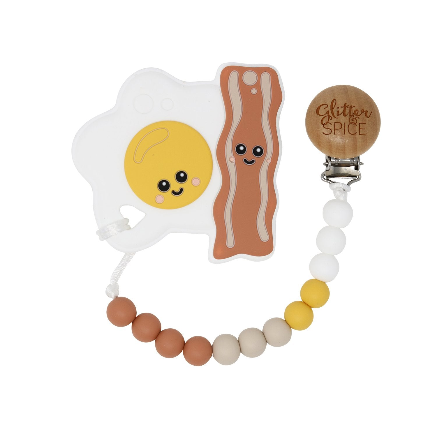 Glitter & Spice - Eggs and Bacon Teether with Pacifier Clip