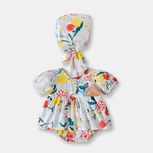 [PO] Elora Floral Baby Romper with Hat