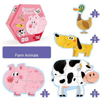 4-In-A-Box Beginner Puzzle - Farm Animals