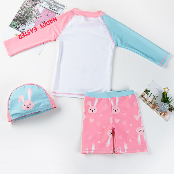 [PO] Pink Bunny Long Sleeve 2 Piece Swimsuit