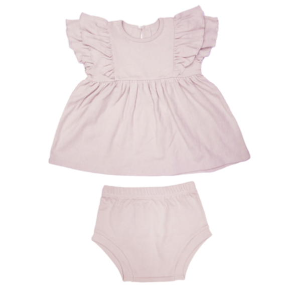 Organic Cotton Ruffle Dress & Bloomer (2 Piece Set)