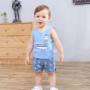 Blue Pigeon Summer Sleeveless 2 Piece Set