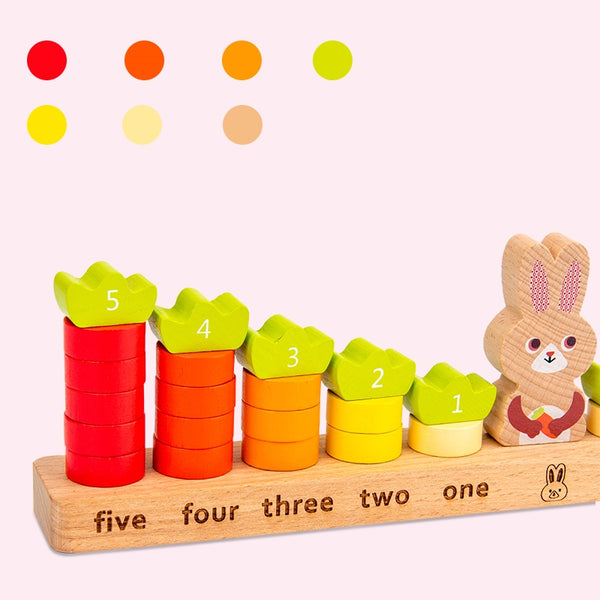 [PO] Bunny & Her Carrots Balancing Wood Blocks