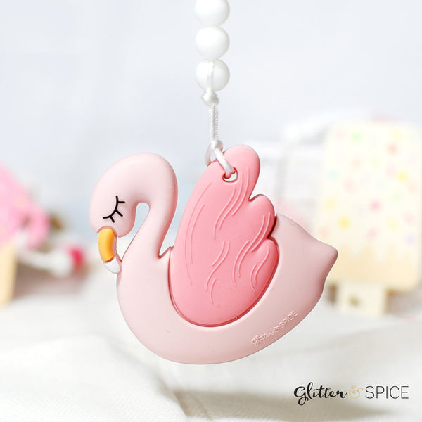 Glitter & Spice - Flamingo Teether with Pacifier Clip