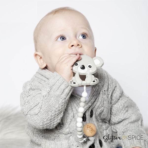 Glitter & Spice - Koala Teether with Pacifier Clip