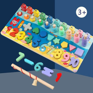 [PO] Montessori Toy - 5 in 1 Wooden Number & Shape Sorter with Fishing Game