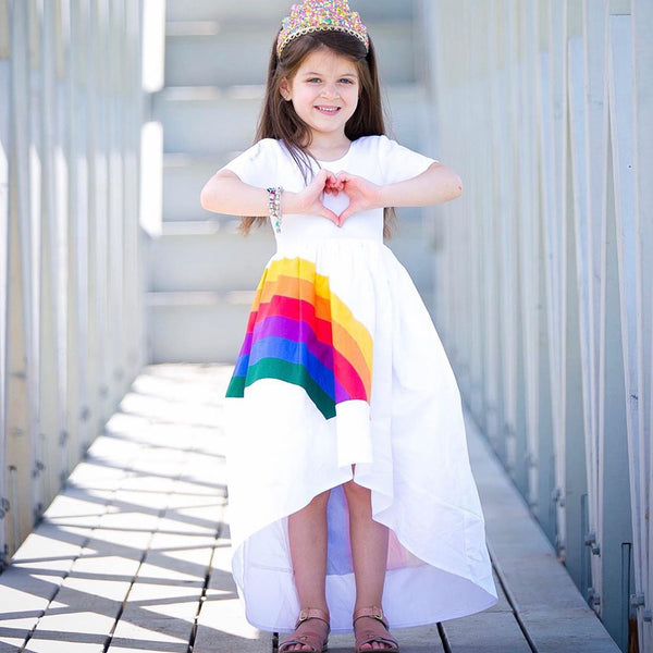 Vera High-Low Hem Rainbow Dress - Mini & Mummy