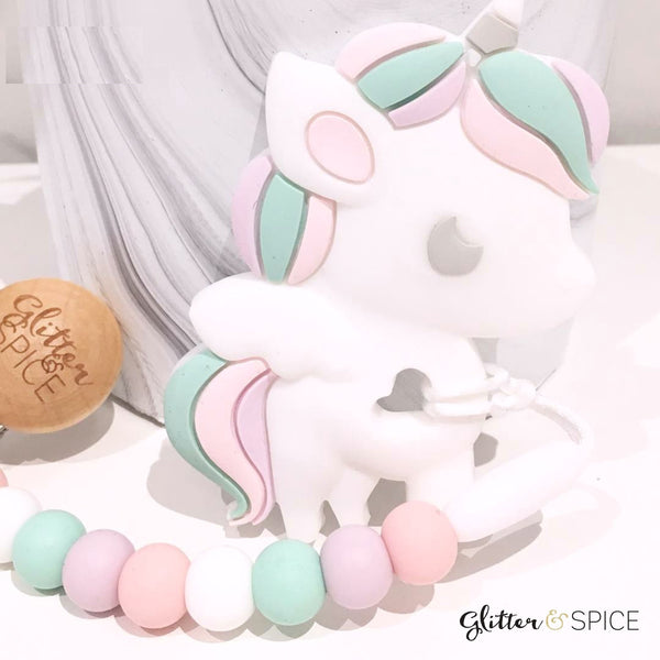 Glitter & Spice - Unicorn Teether with Pacifier Clip