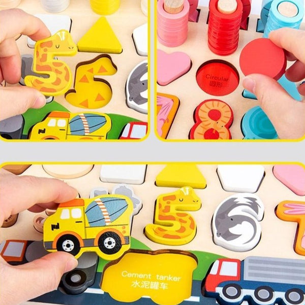 [PO] Montessori Toy - 6 in 1 Wooden Transportation, Number & Shape Sorter with Fishing Game (2 Designs)