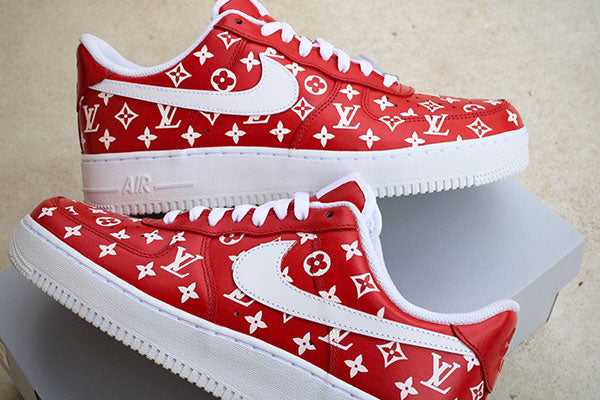 "Nike Air Force 1 Custom ""Louis Vuitton Red"""