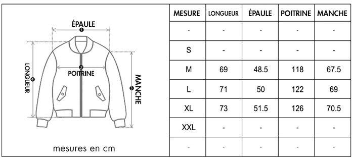 guide de taille bombers
