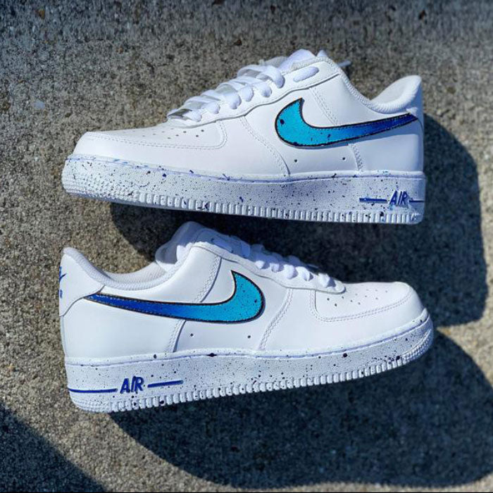 "Nike Air Force 1 Custom ""Blue Splash""-TENSHI™"