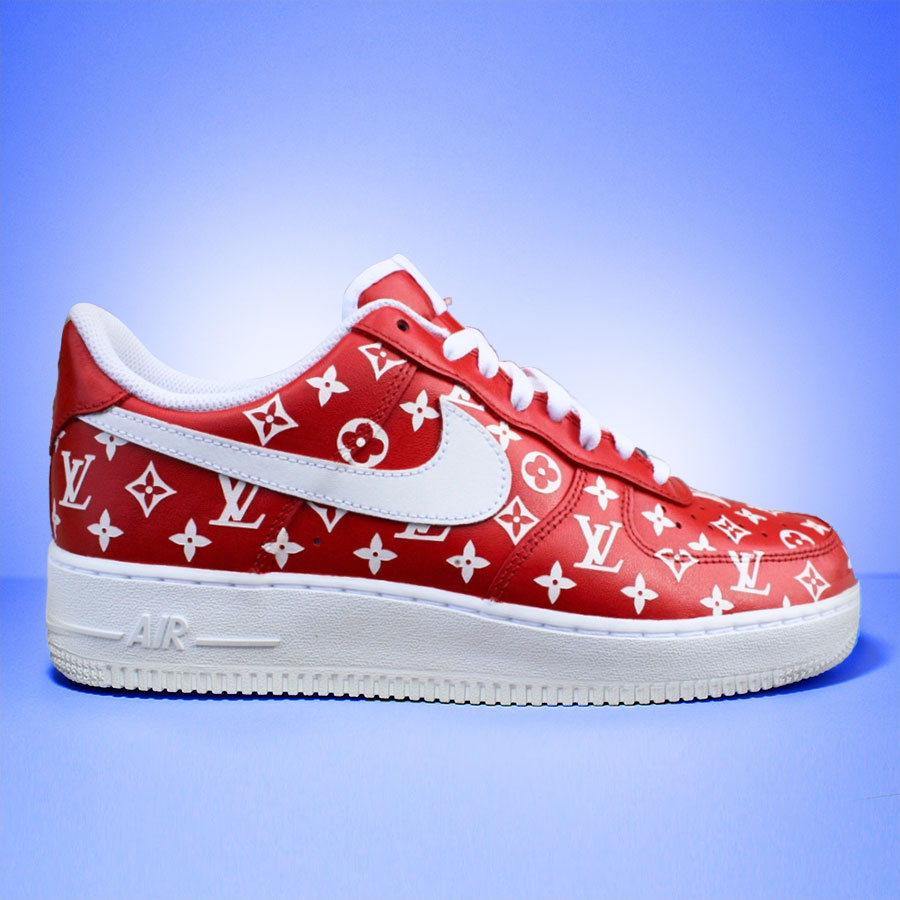"Nike Air Force 1 Custom ""Louis Vuitton Red""-TENSHI™"