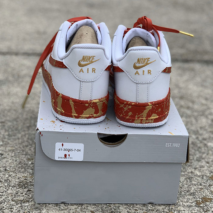 "Nike Air Force 1 Custom ""Red & Gold""-TENSHI™"
